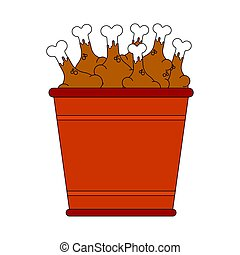 Bucket of fried chicken legs isolated. vector illustration