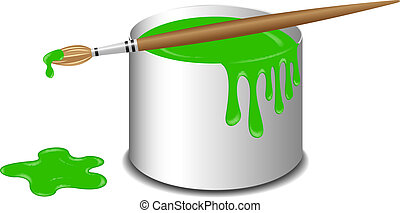 Bucket of green paint and a brush