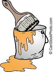 bucket of orange paint