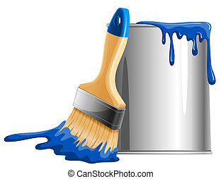 Bucket of paint and brush - Bucket of blue paint and brush. ...