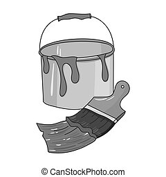 Bucket of paint and paintbrush icon in monochrome style isolated on white background. Artist and drawing symbol stock vector illustration.