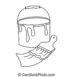 Bucket of paint and paintbrush icon in outline style isolated on white background. Artist and drawing symbol stock vector illustration.
