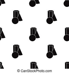 Bucket of paint and paintbrush icon in Black style isolated on white background. Artist and drawing pattern stock vector illustration.