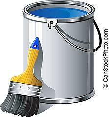 Bucket of paint and paintbrush. Over white. EPS 8, AI, JPEG