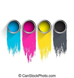 Bucket of paint CMYK.