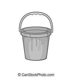 Bucket of paint icon, black monochrome style