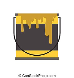 Bucket of paint icon, flat style