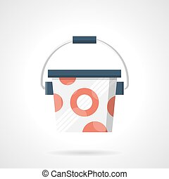 Bucket of protein powder flat color vector icon - Symbol for...