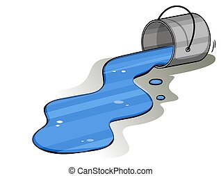 Bucket of spilt ink - Bucket of spilt blue ink on a white...