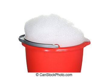 BUcket of suds ready to be used for cleaning