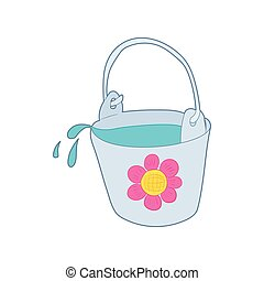 Bucket of water for the garden icon, cartoon style