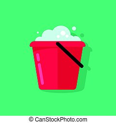 Bucket of water icon vector isolated, flat cartoon pail with foam