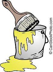 bucket of yellow paint