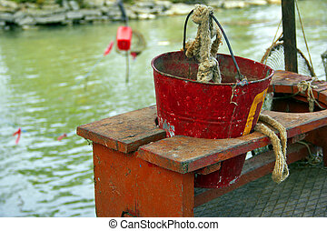 bucket on bench