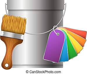 Bucket, paintbrush and paint palette