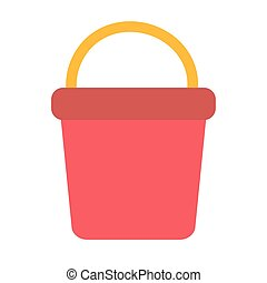 bucket red on white background