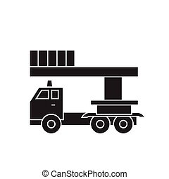 Bucket service truck black vector concept icon. Bucket service truck flat illustration, sign