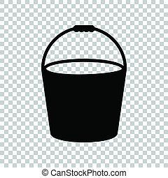 Bucket sign. Black icon on transparent background. Illustration.
