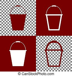 Bucket sign for garden. Vector. Bordo and white icons and line icons on chess board with transparent background.