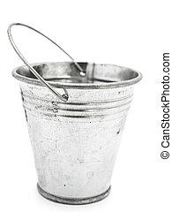 bucket - empty aluminium bucket over the white background