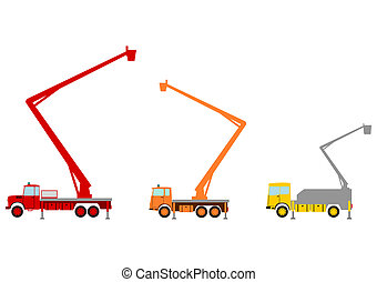 Bucket truck. - Bucket truck while working on a white...