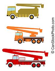 Bucket truck. - Bucket trucks set on a white background.