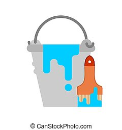 Bucket with blue paint and brush. Vector illustration