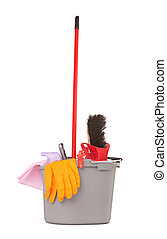 bucket with cleaning supplies isolated on white