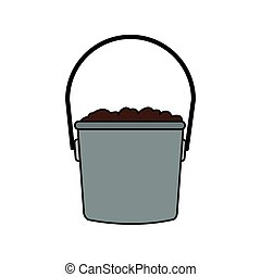 bucket with dirt icon image