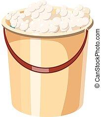Bucket with foamy water icon, cartoon style