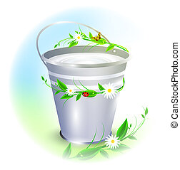 bucket with milk - metal bucket with milk decorated with...