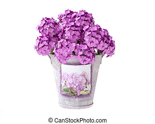 Bucket with Pink Hydrangeas - Isolated 3d Hydrangeas in a...