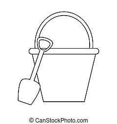 bucket with shovel icon