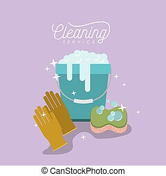 bucket with soap foam and sponge with gloves cleaning service on color background
