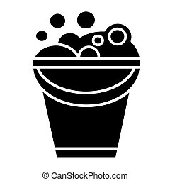 bucket with soap foam icon, vector illustration, black sign on isolated background