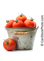 Bucketful of tomatoes - Agriculture: bucketful of fresh ripe...