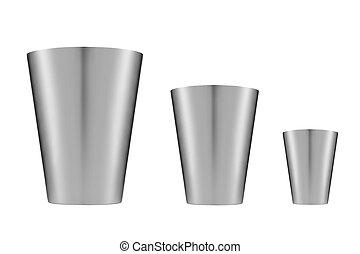 buckets., branca, isolado, fundo, metálico