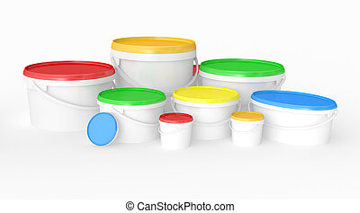 buckets of multicolored paint.