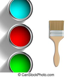 buckets of paint and paint brush