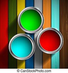 buckets of paint on the wooden floor