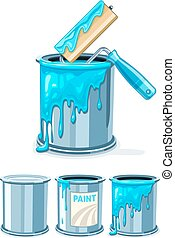 Buckets with blue paint and roller for painting