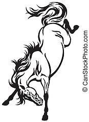 bucking horse tattoo black and white illustration