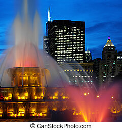 buckingham, memoriał, fontanny, -, chicago, -, usa