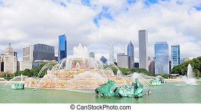 buckingham, skyline, fontijn, chicago