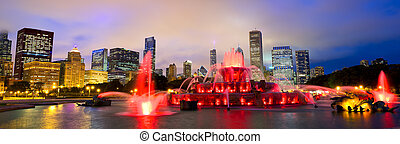 buckingham, sylwetka na tle nieba, fontanna, chicago