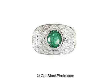 Buckle - Silver belt buckle with green stone in the middle