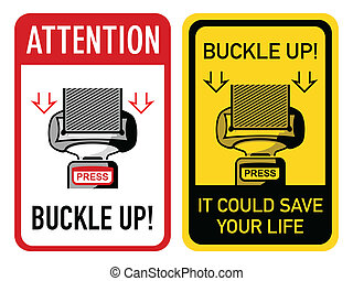 Two buckle up signs with safety belt