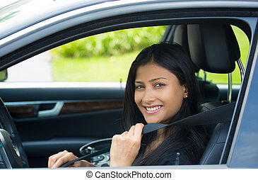 Buckle up - Closeup portrait young smiling, happy,...