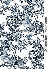 buckthorn honeysuckle vector ink illustration sketch japanese chinese style line art design seamless