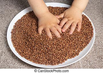 buckwheat., 様々, 技能, プレーする, ゲーム, 子供, 大丈夫です, 開発, モーター, cereals., 子供